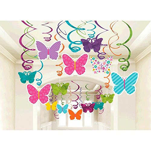 Amscan Spring Butterfly Party Hanging Swirl Decorations - Hanging Butterflies