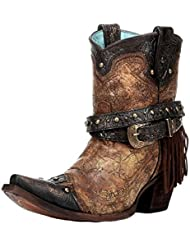 Corral Ladies Bronze Fringe Studded Ankle Boot