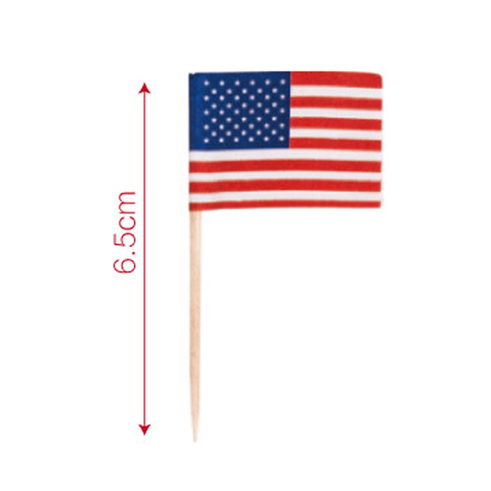- Como en la Imagen Show 100pcs 100 Piezas 100 Piezas Bandera Americana Palillos Comida Fruta Mini Palillos C/óctel Boda Cumplea/ños Cupcake Decoraci/ón Palillos Dientes Independiente D/ía Decoraci/ón