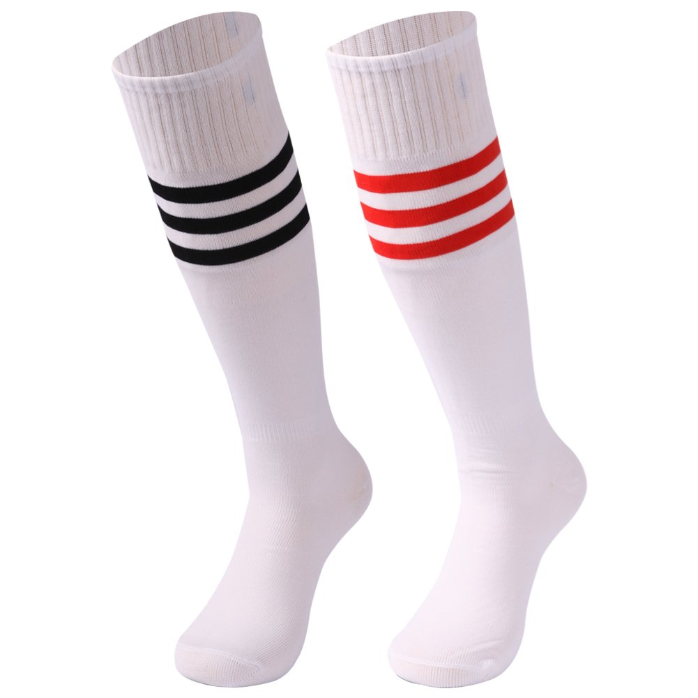 saounisi Adult Volleyball Socks,2 Pairs Knee High Colorful Fashion Game Football Soccer Tube Long Socks Size 9-13 Red/Black Stripe by saounisi
