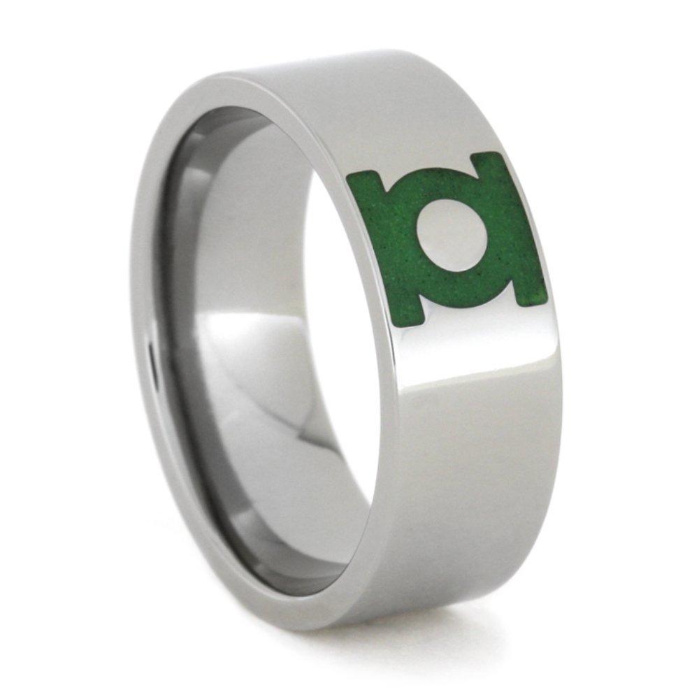 Engraved Green Lantern Insignia Symbol 8mm Comfort-Fit Titanium Ring, Size 8.5