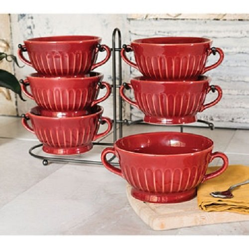 Stoneware Fluted Bowls, Set of 6 with Display Stand, Red (6 Fluted)