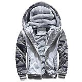 Men Coats And Jackets Winter Sale Warm Fleece Hood Zipper Sweater Outwear Sweatshirts For Men By Orangeskycn (Gray, M)