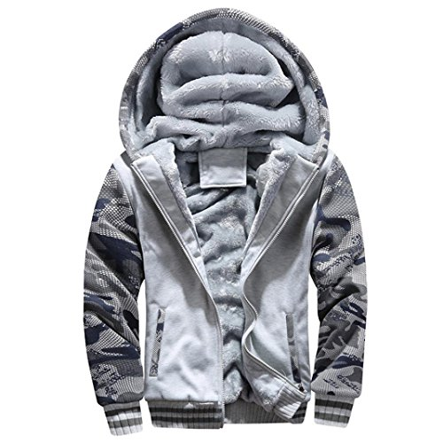 Men Coats And Jackets Winter Sale Warm Fleece Hood Zipper Sweater Outwear Sweatshirts For Men By Orangeskycn (Gray, M)