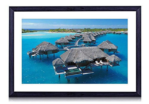 (Four Seasons Resort Bora Bora - Beach - #35243- Art Print Black Wood Framed Wall Art Picture (20x14 inches Framed))