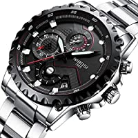 Nibosi Mens Watches Chronograph Sports Watch Waterproof 30M Full Steel Quartz Black Clock Business Wristwatch