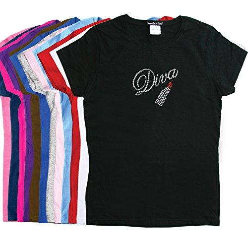 Diva With Swarovski Red Lipstick - Rhinestone Rhinestone Women's T-Shirt.