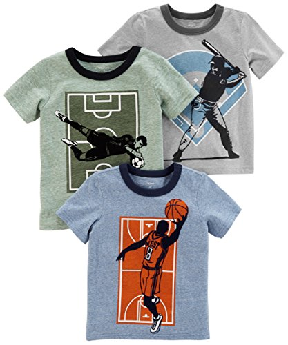 Carter's Boys' Toddler 3-Pack Short-Sleeve Graphic Tees, Multi Sports, -