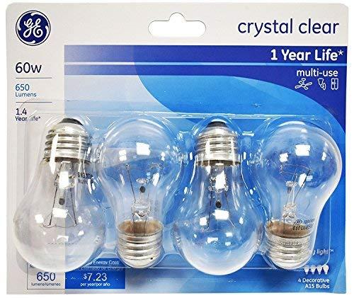 60w Fan Light - GE Lighting 60 Watt, 650 Lumens A15 Clear Ceiling Fan Bulbs - 4 Pack