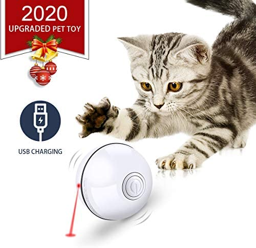 Feeko Cat Toys Interactive Smart Automatic Rolling Kitten Toys USB Rechargeable LED Light Electronic Cat Toy Ball Cat Exercise Chaser Toy for Your Kitty 2