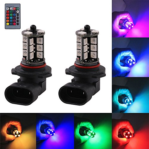 9006 HB4 LED RGB Fog Lights Bulb Amber Yellow White Multicolor 16 Color Changing Switch Kit Strobe Lamp Bulbs for Car Trucks Remote Control Switch Error Free Plug and Play 12V 5050SMD Replacement【1797