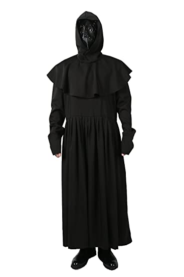 1b62b1469e560 xcoser Plague Doctor Mask Costume Robe Cloak Outfit for Adult Halloween  Clothing S
