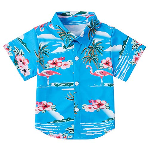 uideazone Little Boys 3D Pink Flamingo Printed Short Sleeve Dress Shirt Casual Button Down Polo Shirt for School/Daily Casual Wear/Photograph/Leisure Green Size 3-4 Year Old
