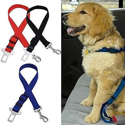 Hosaire Cintur/ón de Seguridad para Perros,Cintur/ón Ajustable de Nylon para Trasportar Mascotas de Viajes Cintur/ón de Perros de Asiento de Coche Color Naranja