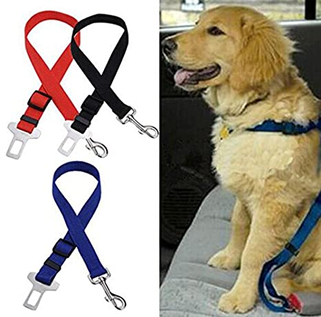 Hosaire Cintur/ón de Seguridad para Perros,Cintur/ón Ajustable de Nylon para Trasportar Mascotas de Viajes Cintur/ón de Perros de Asiento de Coche Color Amarillo