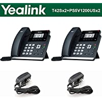 Yealink IP Phone SIP-T42S 2-PACK 12-Lines + 2-UNITS Power Supply PS5V1200US