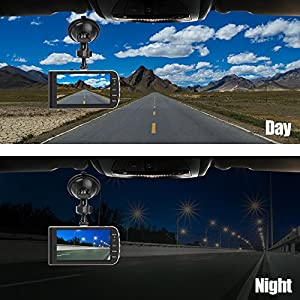 Dual Dash Cam, 4.0 HD IPS Screen, DONGKER FHD 1080P Front Cam + VGA Rear Cam, 290 Wide Angle Motion detector Dash Cam with Sony CMOS chip, HDR, G-Sensor, Parking Monitor, Night Vision