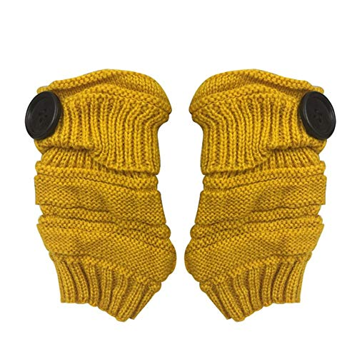 Yevison Practical 1Pair Knit Wrist Button Pattern Half Fingerless Thumb Hole Warm Gloves Women Girl ...