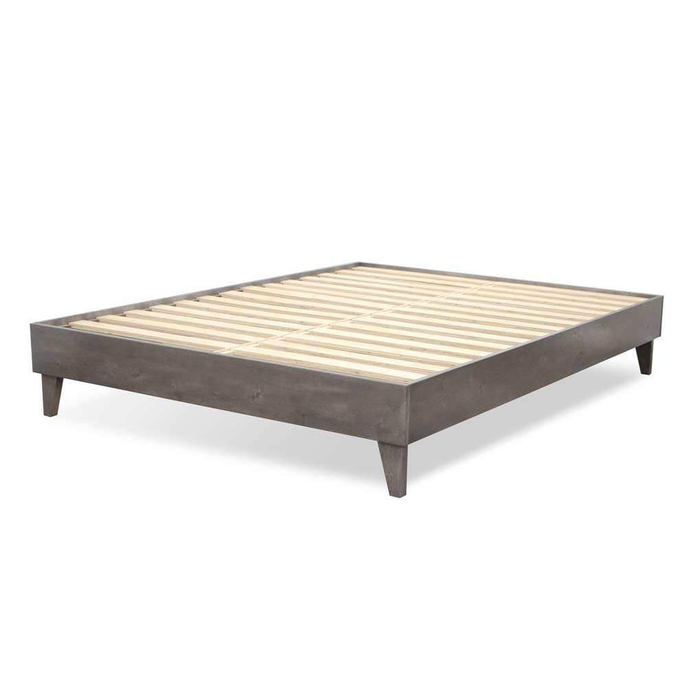 ExceptionalSheets Wood Bed Frame – 100 North American Pine – Solid Mattress Platform Foundation w Pressed Pine Slats – Easy Assembly – King