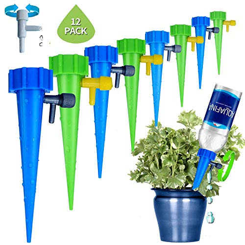 (Wemaker [2019 Upgrade] Plant Waterer, Automatic Drip Irrigation Self Watering Devices with Slow Release Control Valve Switch, Adjustable Vacation Self Plant Watering Spikes Globes for Outdoor Indoor)