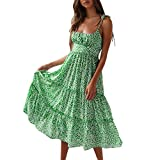 Nadition Summer Beach Dress ❤️️ Women Sexy Tie Up Shoulder Snowflake Print Backless Dress High Waist Loose Maxi Dress Green