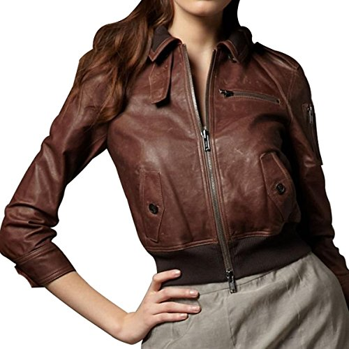 Juicy Couture Bird Riley Vintage Leather Bomber Jacket