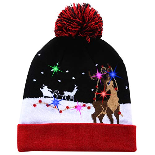 W-plus Ugly LED Christmas Hat Novelty Colorful Light-up Stylish Knitted Sweater Xmas Party Beanie Cap (Xmas 009)