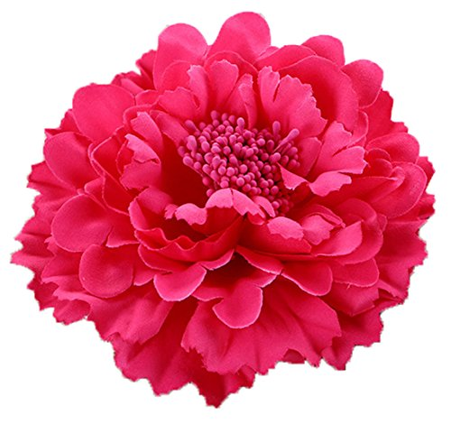 Floral Fall Peony Flower Hair Clip Flamenco Dancer Pin up Flower Brooch HC-01 (Fuchsia)