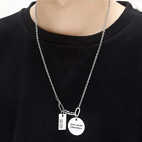 Stainless Steel Circle and Square Characters Tags Pendants Necklace POVANDER Retro Geometric Long Necklace