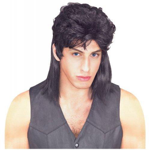 Waynes World Wigs (Rubie's Humor Black Mullet Shoulder Length Wig, Black, One)