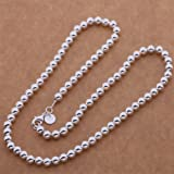 925 Sterling silver Plated Fashion Pretty 6MM bead Beautiful Necklace New