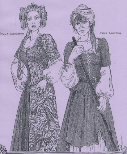 14th and 15th Century Easy Medieval Front-Opening Buttoned or Laced Kirtle Gown Pattern by Alter Years