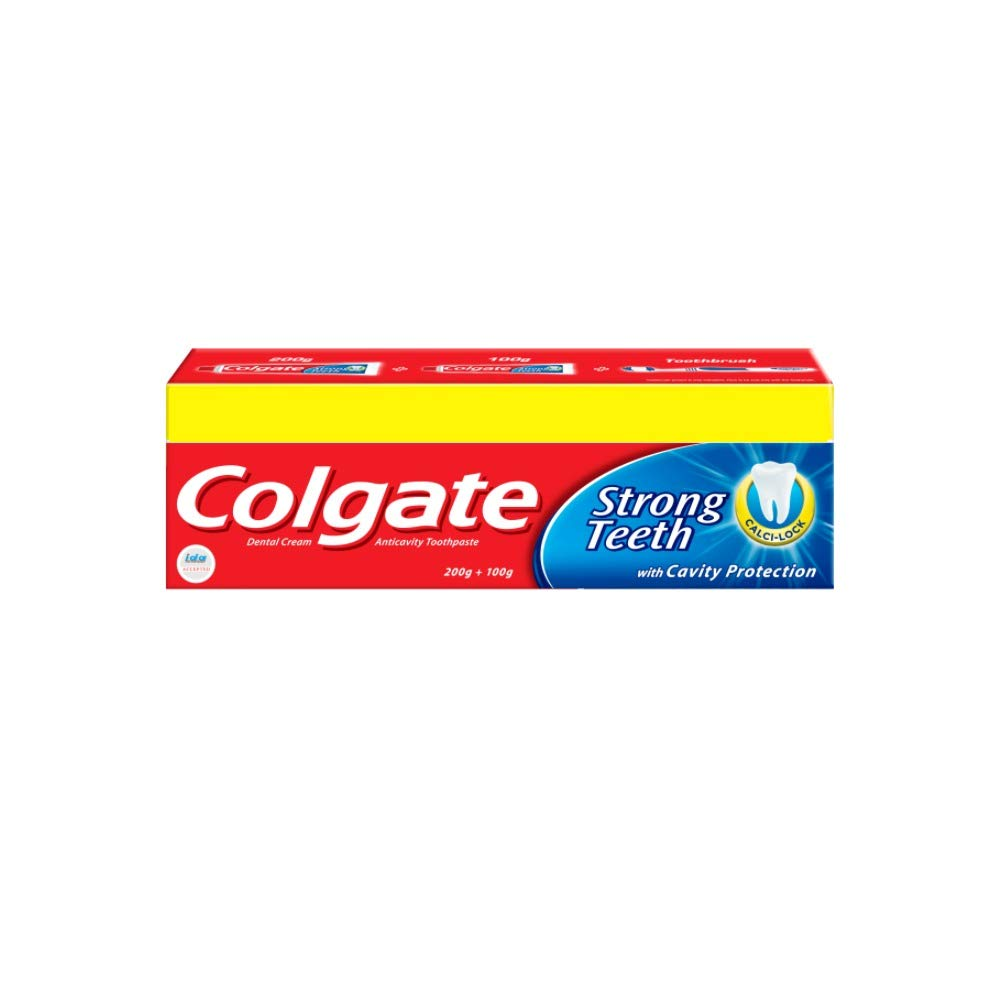 Colgate Toothpaste Strong Teeth - 300 g (Anti-cavity) Free Toothbrush product image