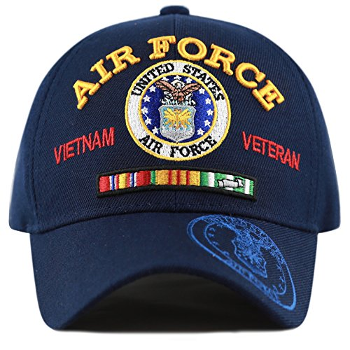 Air Force Cap (The Hat Depot Official Licensed U.S. Military Vietnam Veteran Ribbon Cap (Navy-Air Force))