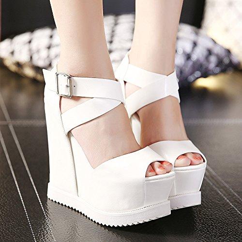Xing Lin Zapatos De Verano Para Las Mujeres Cuñas La Nueva Noche De Verano Boca De Pescado Zapatos De Tacón Alto De 14 Cm De Espesor Con Pendiente Mayor Impermeable Sandalias Mujer En Consola. White