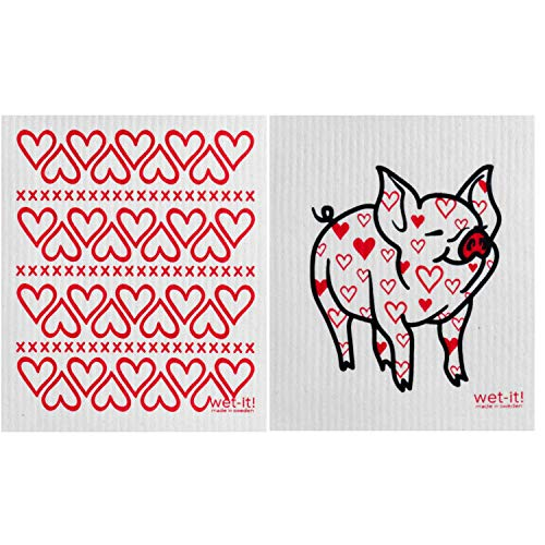 Wet-It! Swedish Dishcloth Set of 2 - Hearts and Pig with Heart Pattern - - Dishcloth New