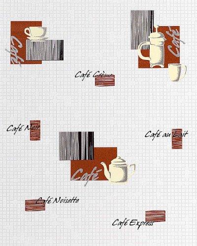 Papel pintado de diseño motivos café bar y mosaico EDEM 062-20 azulejitos blanco crema chocolate negro plata