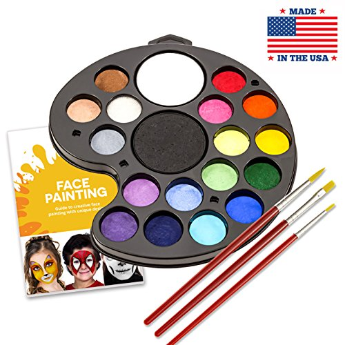 (Body Paint Kit by Keyp Creative: 19-Color Face and Body Paint Palette + 3 Brushes/Non-Toxic, FDA-Approved, Water-Based, Hypoallergenic, Vegan Body Painting Set for Kids/ + BONUS Face Painting)