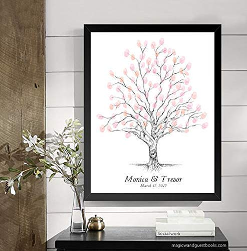 Guestbook Tree, Wedding Guest Book Alternative, Twisted Oak Tree, Thumbprint, Fingerprint (Guestbook Sizes: 13