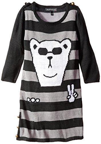 Derek Heart Big Girls' Polar Bear On Stripe Tunic, Black, Medium ()