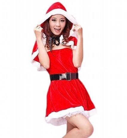 ec47366204d7d (バハギア) Bahagia ふわカワ サンタ ドレス ( 衣装 帽子付きボレロ ベルト 透明肩