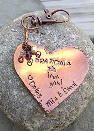 Grandma, Grams, Nana, Noni, Mimi Keychain with Grandchildren's Names and Birthstones, Personalized Copper Key Chain or Purse ()