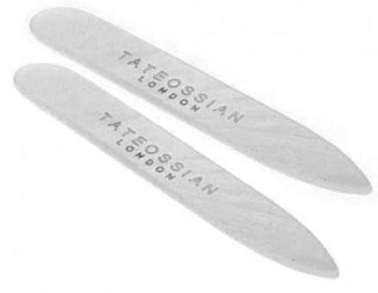 Tateossian Men's Silver and Mother of Pearl Classic Collar Stays