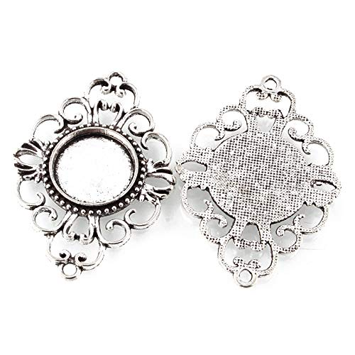 (Pandahall 10pcs Vintage Tibetan Style Antique Silver Blank Bezel Cabochon Settings 17mm Inner Diameter Flat Round Frame Pendant Tray Filigree Chandelier Link Connector Charms)