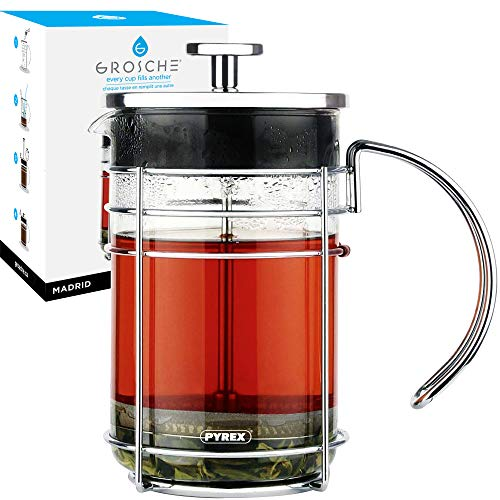 GROSCHE Madrid French Press Coffee Maker, Tea Press Coffee Press 1.0L 34 oz quality Pyrex France glass, stainless steel coffee filter. French Press for coffee or use as a tea press. Premium quality.