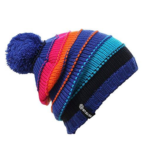 Acvip Bleu Homme Pompon Femme Tricoter Hiver Fil Extérieur Bonnet À Avec Ski Chapeau En Tricoté 66RUrwq