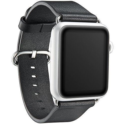 """KAVAJ genuine leather watch band """"Barcelona"""" for Apple Watch Series 1,2 & 3 42mm in black. This genuine leather replacement watch strap with classic buckle makes the ideal accessory to the Watch -"""
