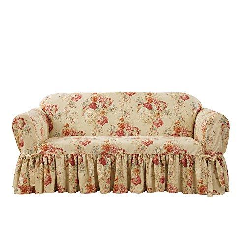 Sure Fit Ballad Bouquet Waverly One Piece Box-Cushion Loveseat Slipcover - Blush (SF45574) ()