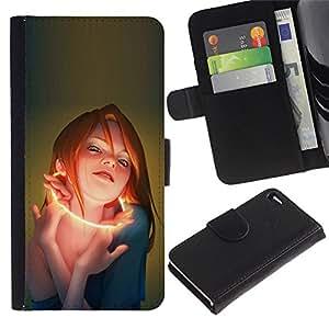 Protector de cuero de la PU de la cubierta del estilo de la carpeta del tirón BY RAYDREAMMM - Apple Iphone 4 / 4S - Glow Mujer