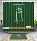 Amavam Bathroom 2-Piece Suit Loaded Movable Pulleys With Spring And Rope Physics Drawing On Board School Illustration Shower Curtains And Bath Mats Set, 66'' Wx72 H & 23'' Wx16 H